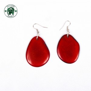 Earrings E01, dark red